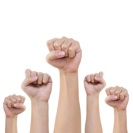 protest: Group of hand and fist lift up high on white background