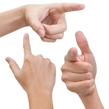 집게 손가락: 손으로 다양 한 포즈에 뭔가를 poiting