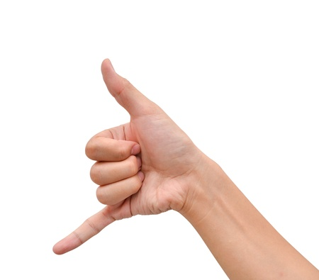 hand with thumb up posing as telephone symbol stock photo picture