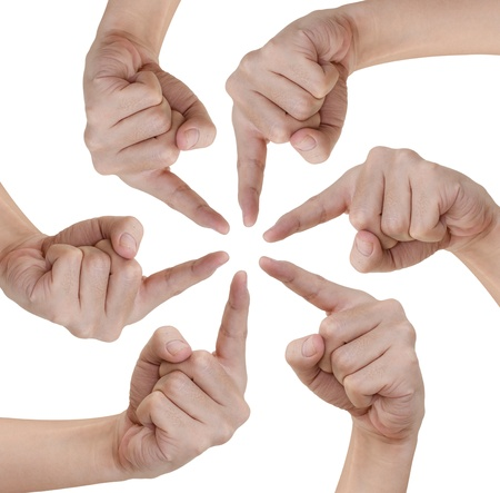 Hand of teamwork on white background Stock Photo - 11269963