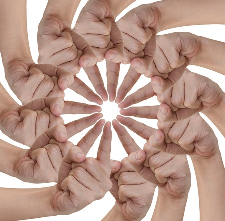 group goals: Hand of teamwork on white background Stock Photo