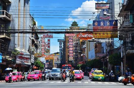 krung: BANGKOK, THAILAND - August 23 : Traffic jam on Yaowarat road  on August 23,2011 in Bangkok.