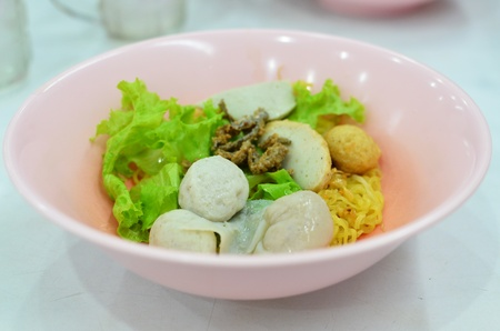 Asian style noodle with pork , fish ball and vegetables Stock Photo - 11738322