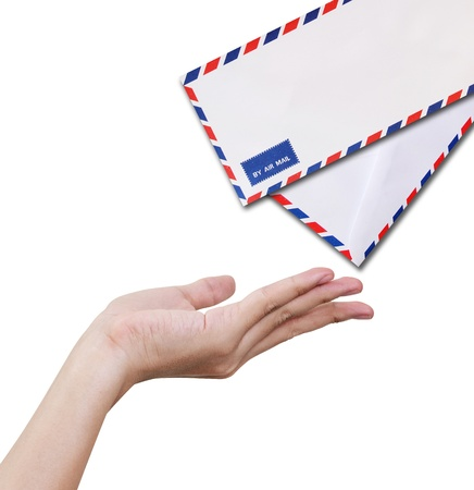 Hands receiving letter, isolated on white background Stock Photo - 11738279