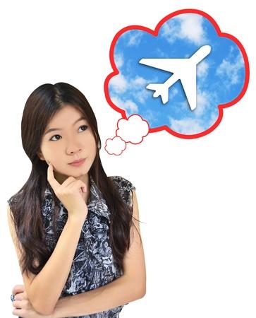 Women thinking about travel photo