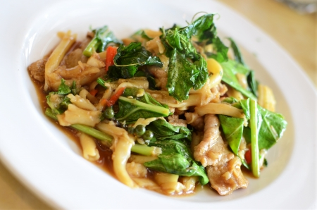 ready to cook food: Asian style noodle with pork and vegetables , Asian style food