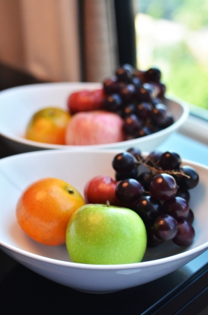 whie: Variety of Fresh Fruits in whie bowl