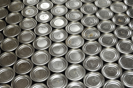 canned: Aluminium Cans in factory warehouse