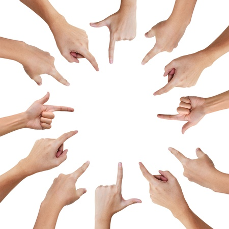 Hand pointing to the same direction , Teamwork business concept Stock Photo - 17974391