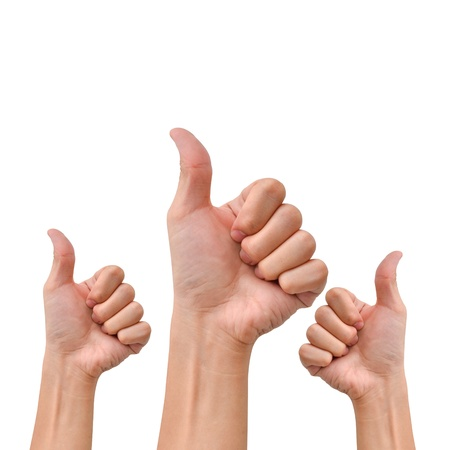 Hand with thumb up for agree or appreciate something Stock Photo - 17974385