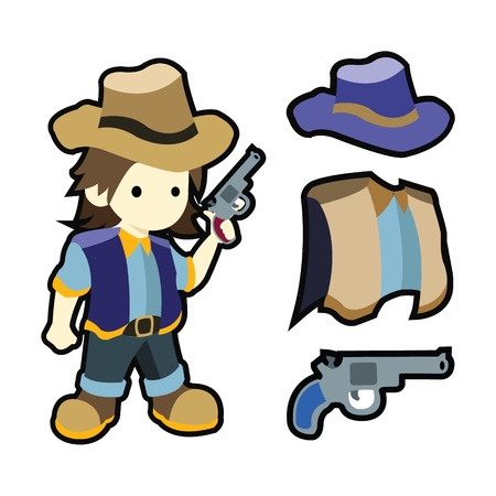 Cute cartoon cowboy with costumes illustration Vector