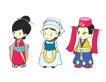 chinese dress: Girls in traditional costume of Asian country , Cartoon vector illustration