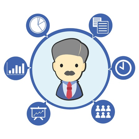 Businessman boss with office business symbol and icons , Cartoon illustration Vector