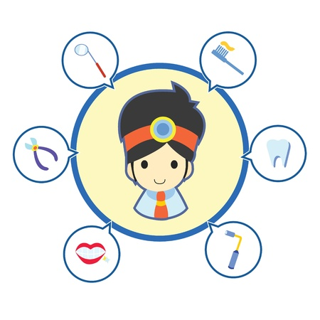 Dentist with job tool icons , Cartoon illustration Stock Vector - 18138766