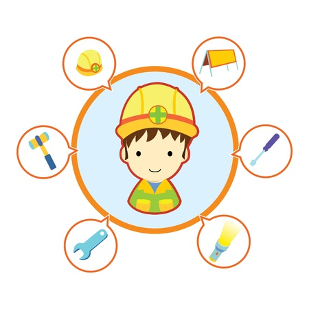 Mechanic repairman with job tool icons , Cartoon illustration Vector