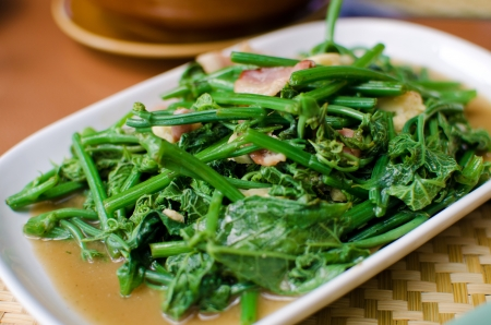 chinese meal: Fried bitter gourd leaf with oyster sauce , Thai style food