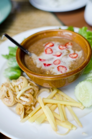 nam: Set of spicy sauce with vegetables , Thai style food , also know as Nam prik