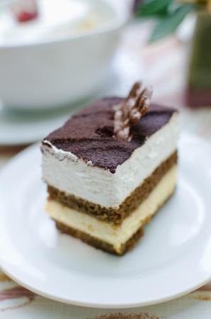 Fresh chocolate cream cake , Homemade Tiramisu photo