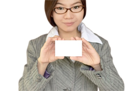 namecard: Business woman showing blank white namecard