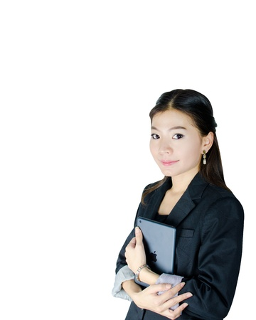Young Asian woman with tablet computer isolated on white photo