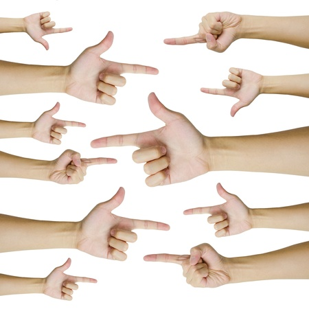 Isolated hands pointing to opposite direction Stock Photo - 19428828