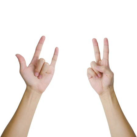 Isolated Hands In A Pose Of Love And Peace Sign Stock Photo Picture