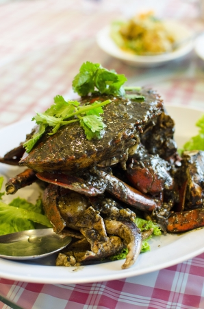 stirred: Stirred fried crab with black pepper sauce , Chinese style food Stock Photo
