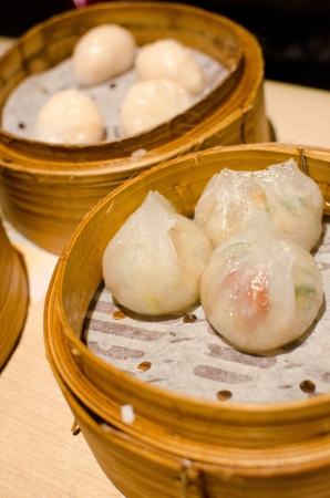 Steamed dumplings with shrimp and pork , Chinese style food also know as Dim Sum