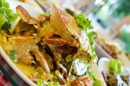 stirred: Stirred fried crab with chese and egg sauce , Chinese style food Stock Photo