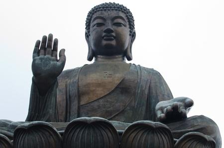 stone buddha: Tian Tan Giant Buddha at Po Lin Monastery in Hong Kong, Lantau Island