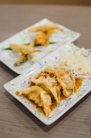 Deep fried fish and gyoza dumpling set - Japanese style food photo