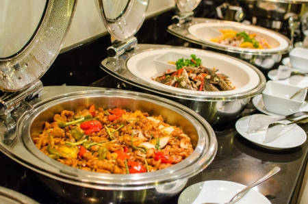 buffet lunch: Thai style cuisine , spicy food in buffet set Stock Photo