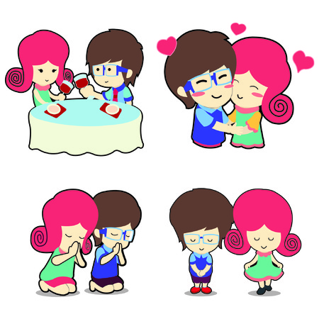 Happy boy and girl couple in many poses cartoon vector illustration Vector