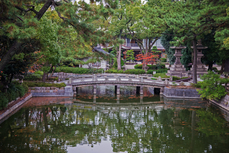 water garden: bridge in garden with reflect shadow on water