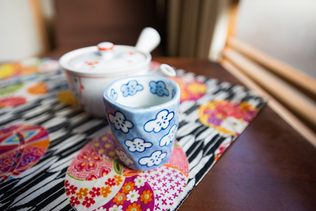 ryokan: Morning Tea set on the table in Ryokan, Japan culture Stock Photo