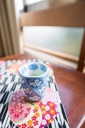 ryokan: Morning Tea set on the table in Ryokan, Japan culture Stock Photo