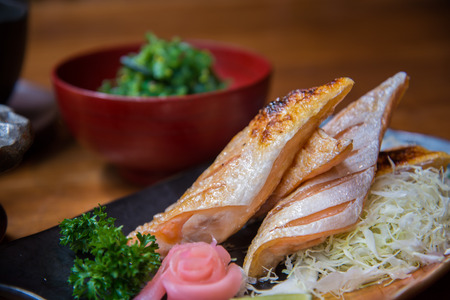 comida japonesa: Japanese style food set , Grilled salmon with soup Foto de archivo