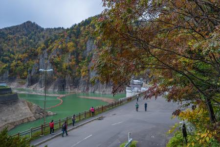 Beautiful view of Hoheikyo dam in Jozankei onsen, Japan