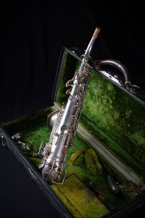 Vintage 1929 Silver Refurbished Soprano Sax with Sterling Silver-Wash Bell back view