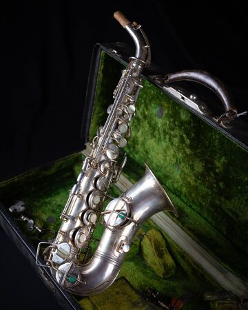 Vintage 1929 Silver Refurbished Soprano Sax with Sterling Silver-Wash Bell side view Stock fotó