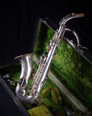 Vintage 1929 Silver Conn Refurbished Soprano Sax with Sterling Silver-Wash Bell side view