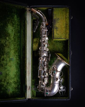 Vintage 1929 Silver Conn Refurbished Soprano Sax with Sterling Silver-Wash Bell top view Stock fotó