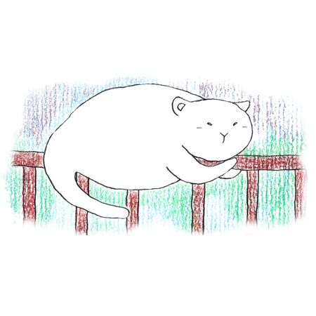 Fat funny white cat sleeping on the brown fence. Hand drawn illustration by color pencils and ink.