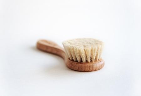 bristle: face brush natural bristle wood hand - skin care product Stock Photo