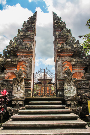balinese: Typical Balinese Hindu Temple - the Stairs, Gate and Temple - Ubud, Bali, Indonesia Stock Photo