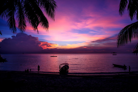 Magic colorful sunset at Perhentian Island, Malaysia