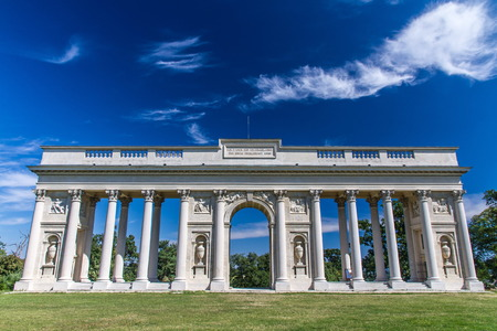 the place is important: Neoclassical Colonnade in a deep blue sky - Collonade Reistna, Valtice, Czech Republic