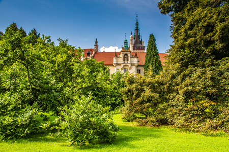 View of Pruhonice Castle Tower behind Green Trees - Pruhonice, Czech Republic