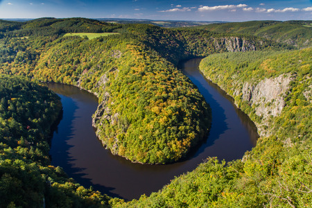 meander: Meander of Vltava River in Beautiful Autumn Forest - Teletin, Czech Republic