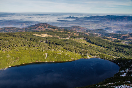 panoramas: View of Wielki Staw and Mountain Panoramas during Inversion with Clouds Below - Krkonose, Czech Republic